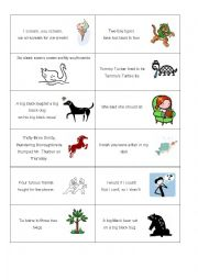 English Worksheet: Tongue twisters cards
