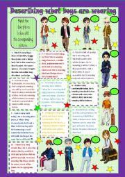 English Worksheet: Describing what boys are wearing - matching