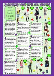 English Worksheet: Describing what girls are wearing - matching