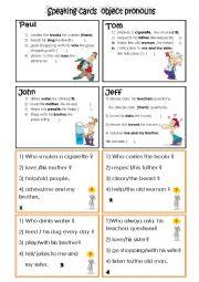 English Worksheet: speaking cards (object pronouns)