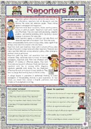 English Worksheet: Reporters (+KEY)