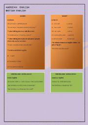 English Worksheet: American English or British English  2