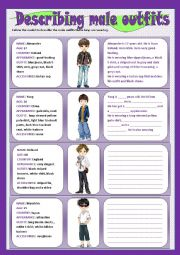 English Worksheet: Describing male outfits - writing
