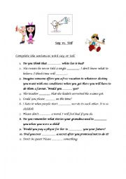English Worksheet: Say vs Tell