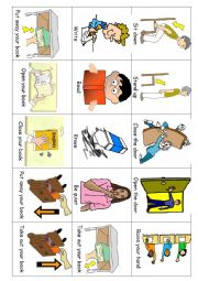 Actions - Classroom words - small pic & word cards