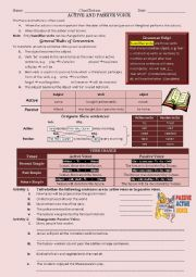 English Worksheet: Active and passive voice (Present, Past and Future  Simple Tense)