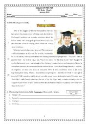 English Worksheet: 9th Grade Test about Working Life