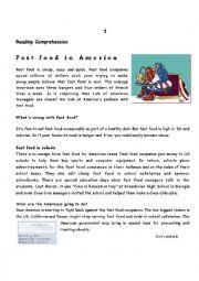 English Worksheet: Test - Fast Food in America