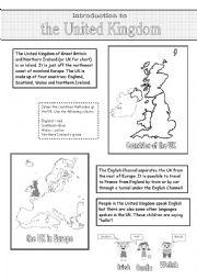 English Worksheet: Window on the United Kingdom (1)