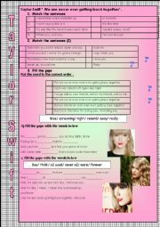 English Worksheet: taylor swift song