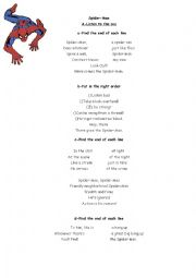 English Worksheet: Spiderman worksheet