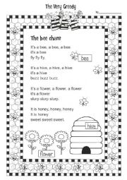 English Worksheet: The Very Greedy Bee 1/3
