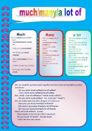 English Worksheet: much,many,a lot
