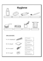 English Worksheet: Hygiene items