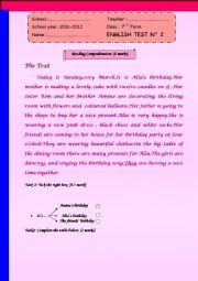 English Worksheet: Full Term Test N�2 HAPPY BIRTHDAY