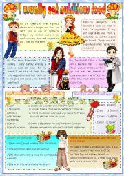 English Worksheet: I usually eat nutritious food.
