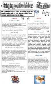English Worksheet: Bringing you fresh ideas  Warmers and Fillers2