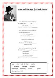 English Worksheet: Love and Marriage (Series of lessons) Sinatra song, vocabulary work, discussion & reading