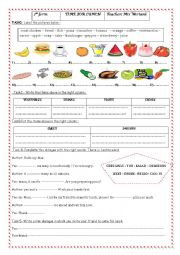 English Worksheet: TIME FOR LUNCH 7 TH FORM