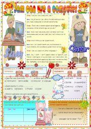 English Worksheet: Sam can use a computer.