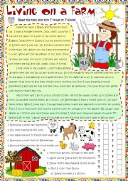 English Worksheet: Living on a farm - reading