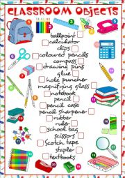 English Worksheet: Classroom objects - matching