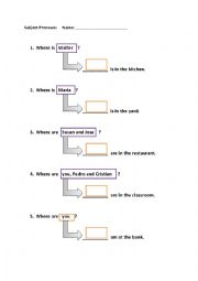 English Worksheet: Proper nouns to subject pronouns