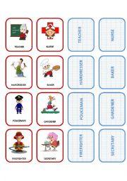 English Worksheet: Jobs Flashcards-Memo Game 1/2
