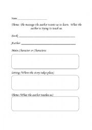 English worksheets: Finding the Theme in Stories