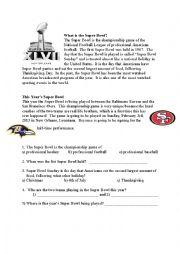 English Worksheet: Super Bowl 2013