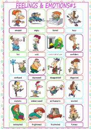 English Worksheet: Feelings & Emotions Picture Dictionary#1