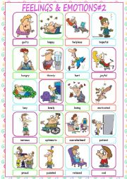 English Worksheet: Feelings & Emotions Picture Dictionary#2