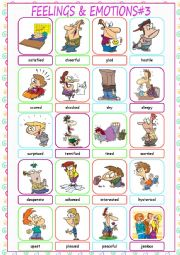 English Worksheet: Feelings & Emotions Picture Dictionary#3