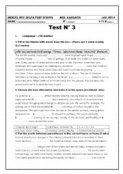English Worksheet: Mid term Test  N 2    ( 9 th form)