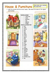 English Worksheet: House and Furniture: Practising there is/are; a/an, some, any; place prepositions
