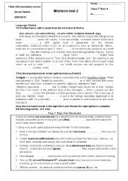 English Worksheet: mid term test 2 first form