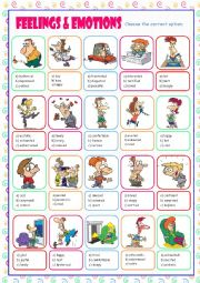 English Worksheet: Feelings & Emotions Multiple Choice