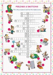English Worksheet: Feelings & Emotions Crossword Puzzle