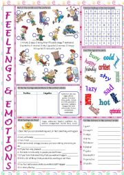 Feelings & Emotions Vocabulary Exercises