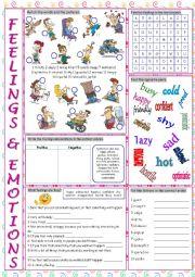 English Worksheet: Feelings & Emotions Vocabulary Exercises