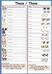English Worksheet: These / Those