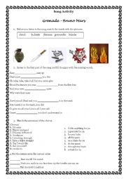 English Worksheet: Song Activity - Grenade by Bruno Mars