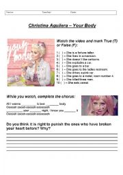 English Worksheet: Your Body - Christina Aguilera WITH ANSWER KEY