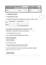 English Worksheet: 4th form (arts) mid-term test nb2