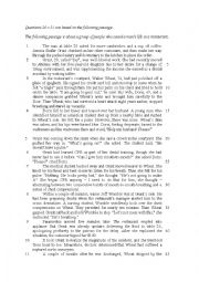 English Worksheet: reading comprehension and summary practice
