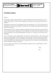 English Worksheet: mid-term test n 2 (3rd form)
