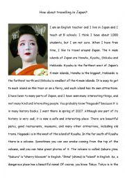 English Worksheet: Reading Comprehension - Travel in Japan - Upper Intermediate