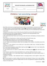 English Worksheet: test - Children not exercising enough