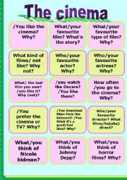 English Worksheet: The cinema- speaking cards