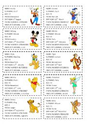English Worksheet: All about me - SPEAKING CARDS - Disney characters